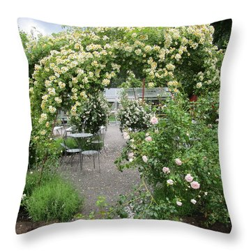 Cream-colored Roses With Your Coffee Throw Pillow