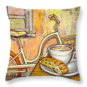 Cream Electra Town Bicycle With Cappuccino And Biscotti Throw Pillow
