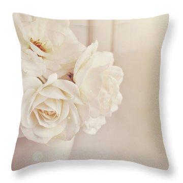 Cream Roses In Vase Throw Pillow