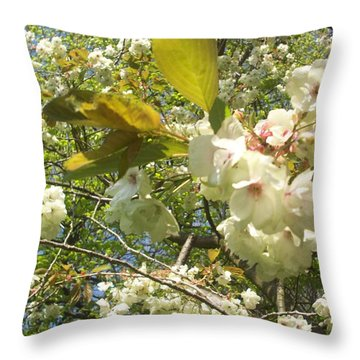 Cream Tree Throw Pillow by Judith Desrosiers