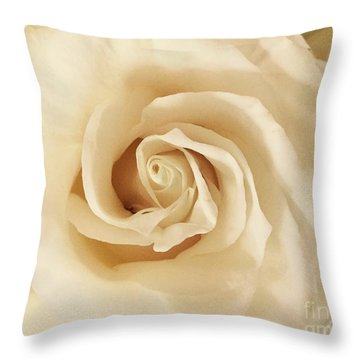 Creamy Rose Throw Pillow
