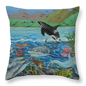 Creation Fifth Day Sea Creatures And Birds Throw Pillow by Caroline Street