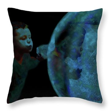 Creation Of The Bubble Throw Pillow