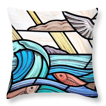 Throw Pillow featuring the glass art Creation Of The Sea And Sky by Gilroy Stained Glass