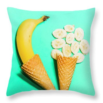 Creative Banana Ice-cream Still Life Art Throw Pillow