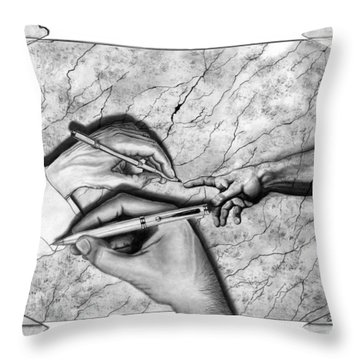 Creators Hand At Work Throw Pillow by Peter Piatt