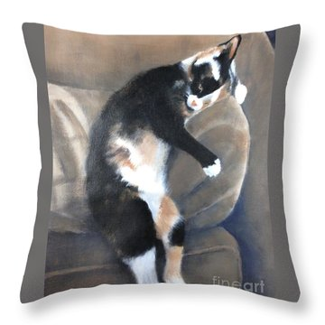 Throw Pillow featuring the painting Creature Comfort by Mary Lynne Powers