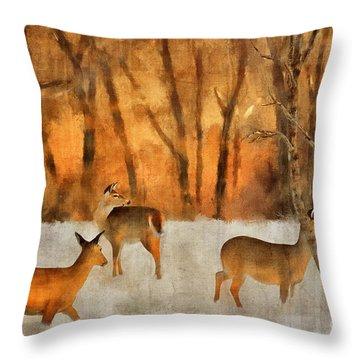 Creatures Of A Winter Sunset Throw Pillow