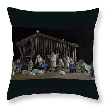 Creche Sraight On View Throw Pillow by Nancy Griswold