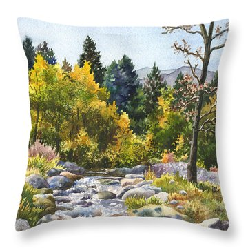 Throw Pillow featuring the painting Creek At Caribou by Anne Gifford