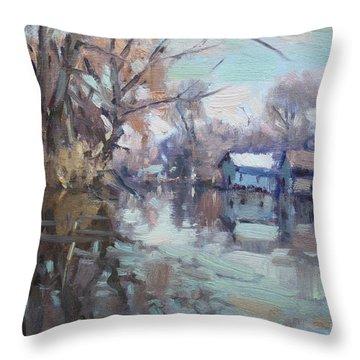 Creek In Tonawanda Throw Pillow
