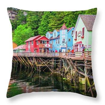 Creek Street Ketchikan Alaska Throw Pillow