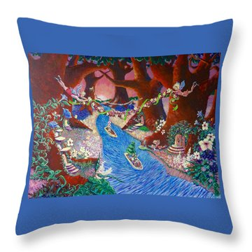 Throw Pillow featuring the painting Creekside Fairy Celebration by Jeanette Jarmon