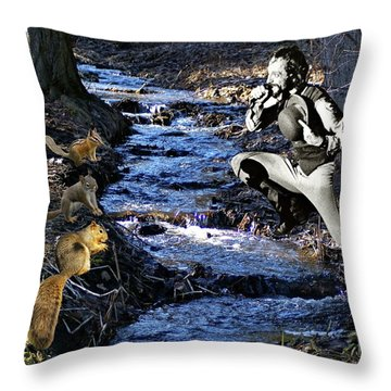 Throw Pillow featuring the photograph Creekside Serenade By Ian by Ben Upham