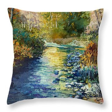 Throw Pillow featuring the painting Creekside Tranquility by Hailey E Herrera
