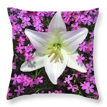 Throw Pillow featuring the photograph Creeping Fuchsia Phlox With Lily by Nancy Lee Moran