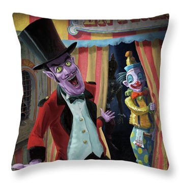 Creepy Circus Throw Pillow