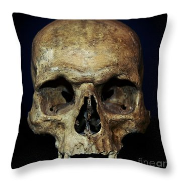Creepy Skull Throw Pillow