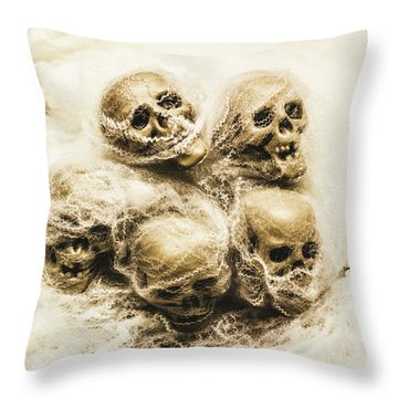 Creepy Skulls Covered In Spiderwebs Throw Pillow