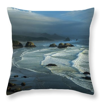 Crescent Beach And Surf Throw Pillow