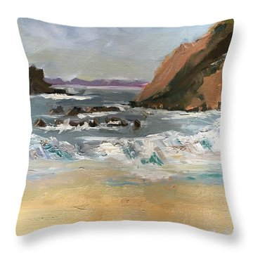 Crescent Beach At Laguna  Throw Pillow by MaryAnne Ardito