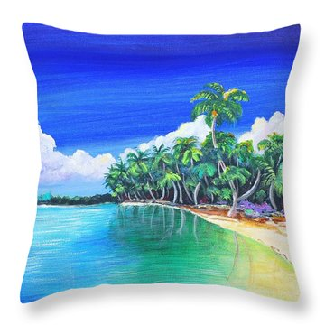 Crescent Beach Throw Pillow by Patricia Piffath