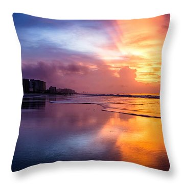 Crescent Beach Sunrise Throw Pillow
