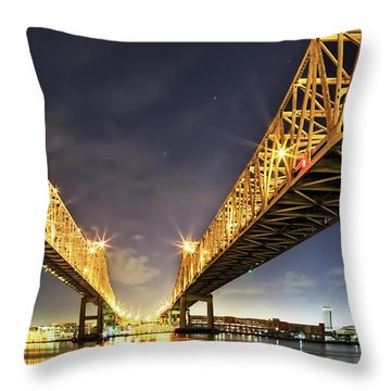 Crescent City Bridge In New Orleans Throw Pillow