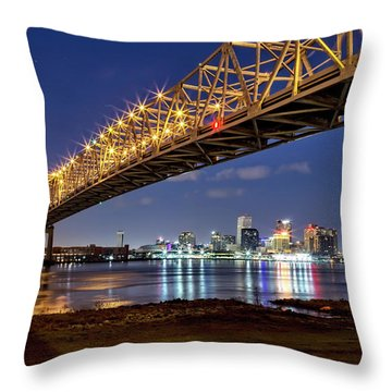 Crescent City Bridge, New Orleans Throw Pillow