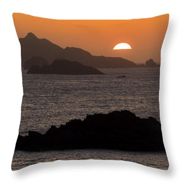 Crescent City Sunset From Battery Point Lighthouse Throw Pillow