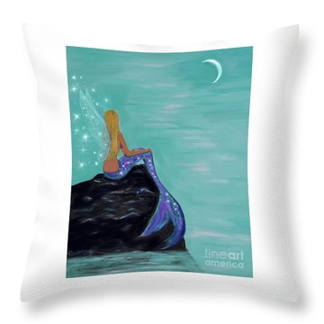 Throw Pillow featuring the painting Crescent Mermaid Moon Fairy by Leslie Allen