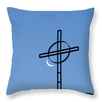 Crescent Moon And Cross Throw Pillow