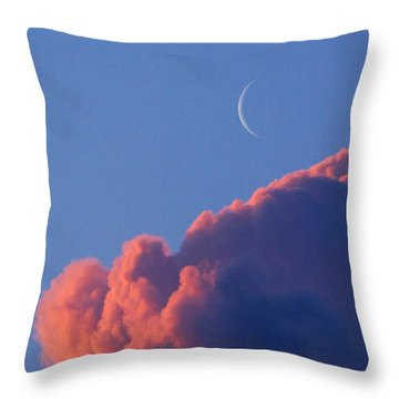 Crescent Moon In The Pink Throw Pillow