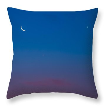 Crescent Moon Mercury And Venus Throw Pillow