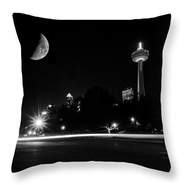Throw Pillow featuring the photograph Crescent Moon Over Niagara Falls City Mono by Charline Xia