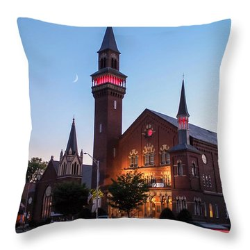 Crescent Moon Over Old Town Hall Throw Pillow