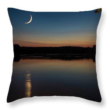 Crescent Moon Set At Lake Chesdin Throw Pillow