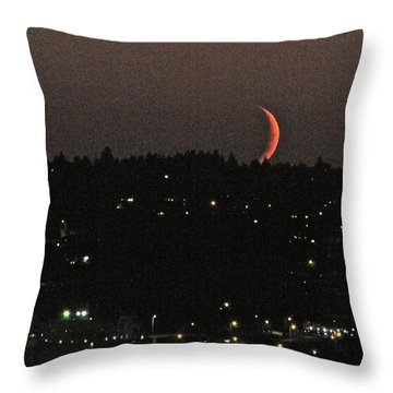 Throw Pillow featuring the photograph Crescent Moonset by Sean Griffin