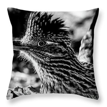 Cresting Roadrunner, Black And White Throw Pillow