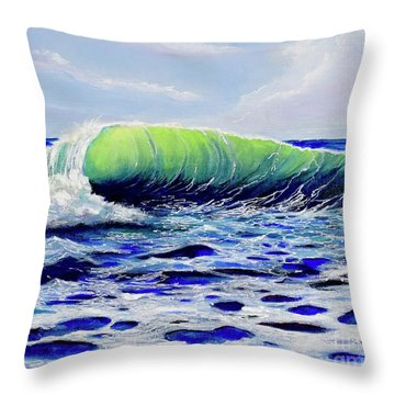Throw Pillow featuring the painting Cresting Wave by Mary Scott