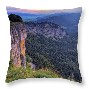 Creux-du-van Or Creux Du Van Rocky Cirque, Neuchatel Canton, Switzerland Throw Pillow by Elenarts - Elena Duvernay photo
