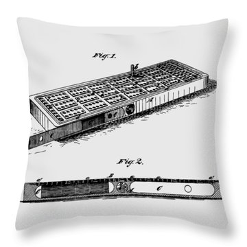 Cribbage Board 1879 Patent Art Transparent Throw Pillow