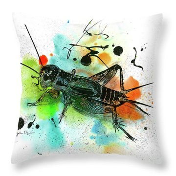 Throw Pillow featuring the drawing Cricket by John Dyess