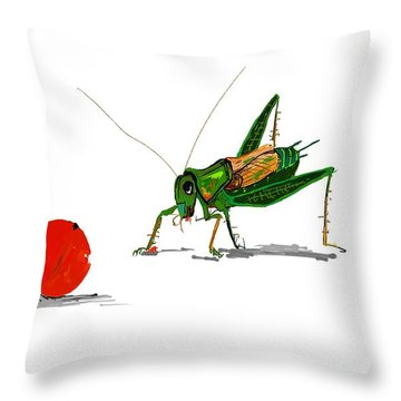 Cricket  Joy With Cherry Throw Pillow