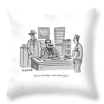 Crime Does Not Pay Throw Pillow