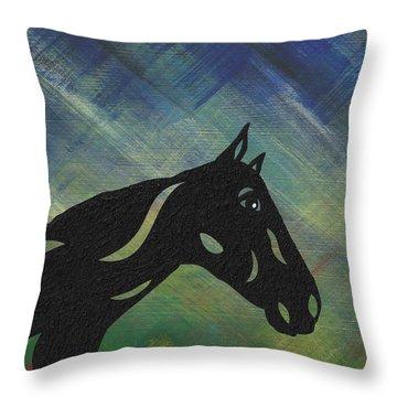 Crimson - Abstract Horse Throw Pillow