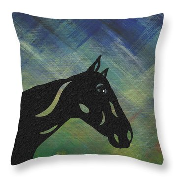 Crimson - Abstract Horse Throw Pillow