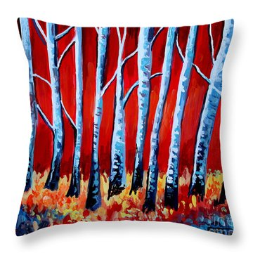 Crimson Birch Trees Throw Pillow by Elizabeth Robinette Tyndall