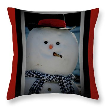 Crimson Christmas Snowman Throw Pillow