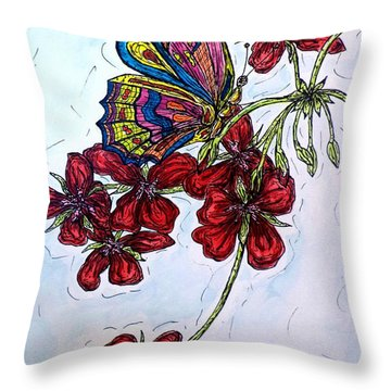Crimson Fancy Throw Pillow